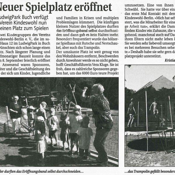 Unsere Spielplatzeröffnung in der Zeitung des Bucher Bote